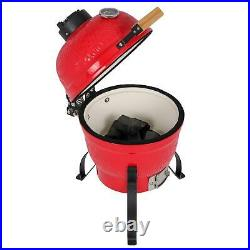 13 Charcoal Smoker Grill Ceramic Metal Outdoor BBQ Smoking with Thermometer Red