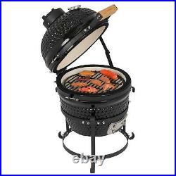 13 inch Charcoal Smoker Grill Ceramic Metal Outdoor BBQ Smoking with Thermometer