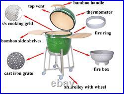 18 Bbq-bits Kamado Bbq Grill Smoker Ceramic Egg Charcoal Cooking Oven Green