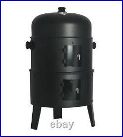 3 in 1 Garden BBQ Smoker Round Charcoal Barbecue Grill Garden Patio Cooker