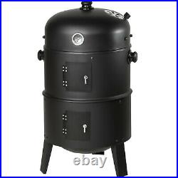 3in1 BBQ Barbecue Charcoal Smoker Grill with Temperature Display new