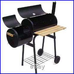56510 Smoker Charcoal BBQ Barbecue Grill Smoking Barrel Trolley Garden BBQ Grill