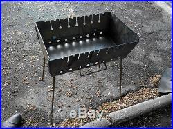 8 skewer Mangal Schaschlik 2 level GRILL brazier barbecue case BBQ chargrill