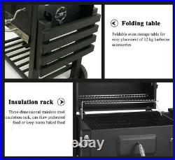 BBQ Barbecue Charcoal Grill with Wheels Smoker Portable Party Outdoor Patio Garden
