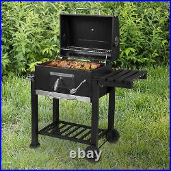 BBQ Charcoal Grill Barbecue trolley with lid charcoal grill stand grill black