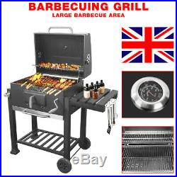 BBQ Charcoal Grill with Wheels Portable Party Outdoor Patio Garden Barbecue UK