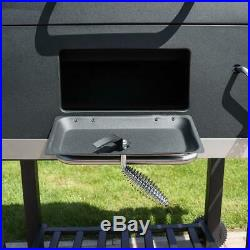 BLACK CHARCOAL SMOKER BBQ AMERICAN STYLE BARBECUE GRILL GRATE TEMP GAUGE Wido