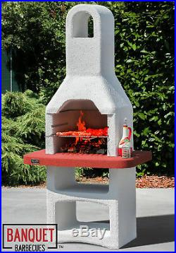 Banquet Tuscan Masonry Charcoal BBQ Garden Outdoor Cooking Smoker Grill Barbecue