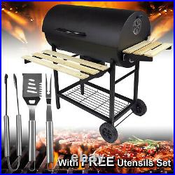 Barbecue BBQ Charcoal Grill Cooking Stove Trolley Wooden Table Smoker & Utensils