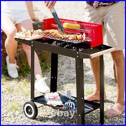Barbecue grill portable charcoal garden outdoor patio BBQ trolley wheels table