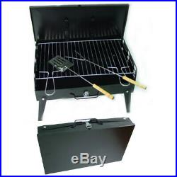 Bbq Charcoal Folding Barbecue Grill Portable Travel Picnic With Utensil Tool Kit