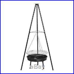 Benross 20 Outdoor Garden Patio Tripod BBQ Barbeque Grill and Firepit Black