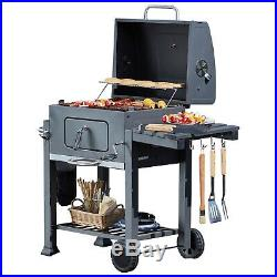 Blazebox Charcoal BBQ Smoker Steel Grill Garden Barbecue Portable Cooker Trolley