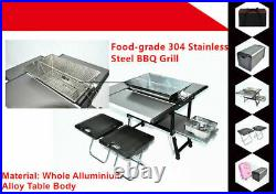 Camping Foldable Picnic Charcoal Gas Mobile Cooking Kitchen BBQ Grill with Seats