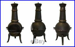 Cast Iron Chiminea Grill BBQ Barbecue Patio Log Charcoal Fire Black Bronze