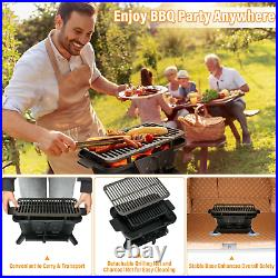 Cast Iron Tabletop BBQ Grill Stove Charcoal Heavy Duty Camping Picnic Yard Party