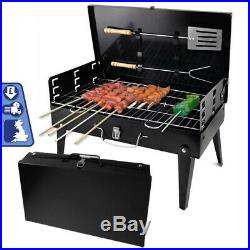 Charcoal BBQ Grill Portable Barbecue and Utensils Outdoor Garden Picnic Camping