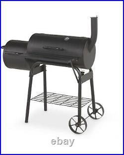 Charcoal Barrel BBQ Grill Garden Barbecue Patio Smoker Portable Wheels