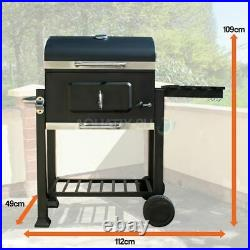 Charcoal Bbq Grill Stainless Steel Barbeque Portable Garden Smoker Trolley