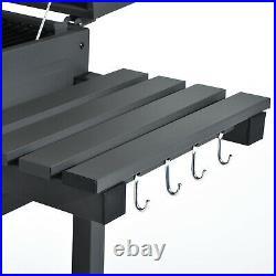 Charcoal Grill BBQ Trolley Wheels Garden Smoker Shelf Side Steel Black