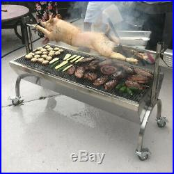 Charcoal Hog Roast Machine Spit Rotisserie Grill Attachment Steel Motor 60kg BBQ
