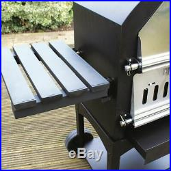 Charcoal Pizza Oven Bbq Wood Fired Bbq Grill Black Steel Garden Kitchen Wido
