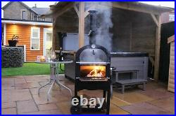 Charcoal wood fired outdoor pizza oven barbeque smoker and grill