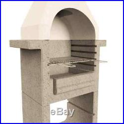 Concrete Charcoal BBQ Stand with Chimney Outdoor Patio Barbecue Grill