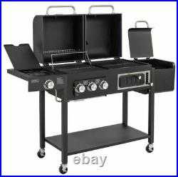 CosmoGrill Barbecue DUO Gas Grill + Charcoal Smoker Portable BBQ