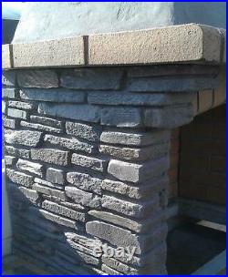 Dark Grey Stone Masonry Barbecue BBQ With Grill and Side Tables