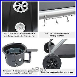Deluxe Charcoal Trolley BBQ Garden Patio Barbecue Grill Heating Heat With Wheels