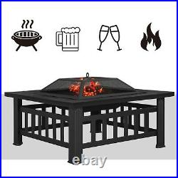 Fire Pit with Barbecue Grill Patio Heater Outdoor Brazier Square Table GFP81BK