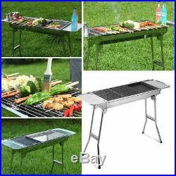 Folding BBQ Barbecue Stainless Steel Charcoal Grill Outdoor Patio Garden Wheels