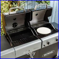 Gas Charcoal Dual Fuel Barbecue BBQ Grill Outdoor Cooking Garden Griddle Plate