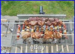 Grill Top Cypriot Greek BBQ Steel Kebab & Rotisserie Spit Large with 14 skewers