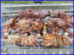 Grill Top Cypriot Greek BBQ Steel Kebab & Rotisserie Spit Medium with 12 Skewers