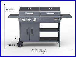HEATSURE Outdoor Garden Hybrid Dual Fuel Gas Charcoal Combo Grill BBQ Wheeled