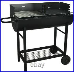 Half Drum Barrel Steel Bbq Charcoal Garden Barbecue Black Adjustable Grill
