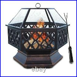 Hex Fire Pit BBQ Bowl For Garden Patio Heater Grill Vintage Design Charcoal