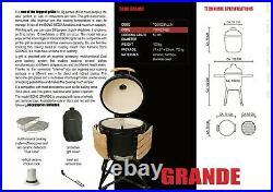 Kamado Bono Grande23 BBQ Grill Smoker Ceramic Egg Charcoal Cooking Oven Outdoor