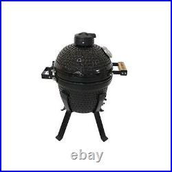 Kamado bono black picnic 33cm bbq grill smoker ceramic egg charcoal cooking oven