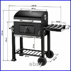 Large BBQ Grill Stove Cart Trolley Barbecue Grille Brazier Fire Pit Thermometer