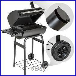Large BBQ barbecue charcoal smoker grill camping with temperature display