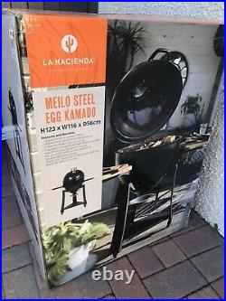 Large Black Kamado Egg BBQ Barbeque Grill Oven Steel Brand New Free P&P