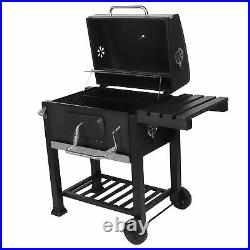 Large Charcoal Barrel BBQ Grill Garden Barbecue Patio Smoker Portable Wheels