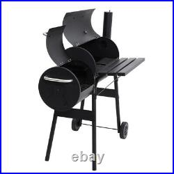 Large Charcoal Barrel BBQ Grill Garden Barbecue Patio Smoker Portable Wheels UK
