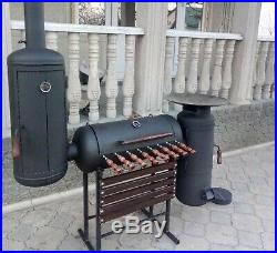 Large Charcoal Bbq Barbecue Smoker Grill Food Cooking Garden Outdoor Thick Iron
