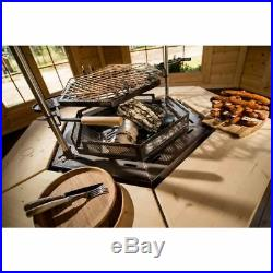 Large Indoor Grill Chimney Barbecue Table Kit Round Wood Steel Chalet Furniture