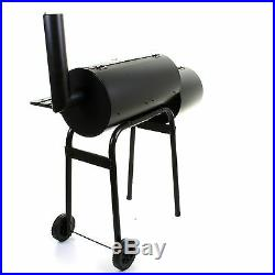 Large Smoker Charcoal BBQ Barbecue Grill Smoking Barrel Trolley Garden BBQ Grill