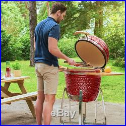Nova Garden Furniture Red Big Kamado Ceramic Egg BBQ 23.5 Inch Barbecue Grill